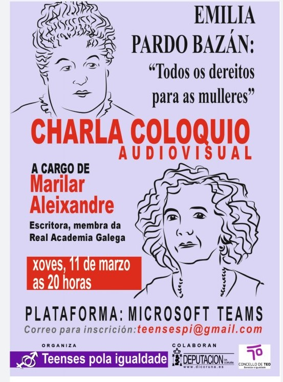 Teenses pola Igualdade celebrará o 8M cunha conferencia-coloquio sobre a vertente feminista de Emilia Pardo Bazán